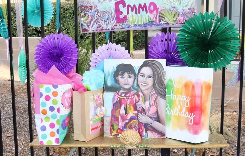 Emma gift table and custom portrait