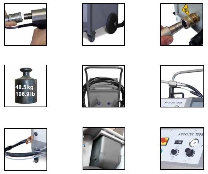 Dane techniczne maszyny do czyszczenia suchym lodem  ASCOJET 1208