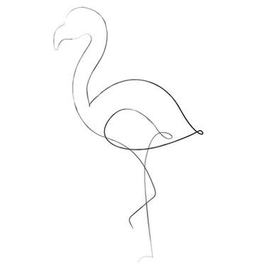 Flamingo Line Art