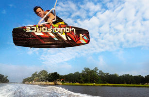 Liquid force wakeboard commercial advertisement photoshoot behind boat