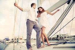 Couple photoshoot on Yacht Charleston Lifestyle fragrance advertisement
