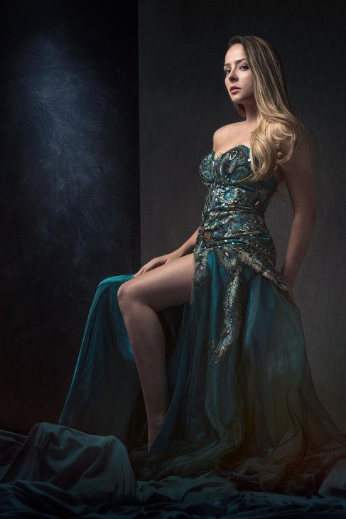 dramatic pagent portrait sequin dress
