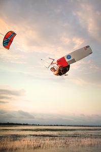 north kiteboarding slingshot advertisement over marshland charleston