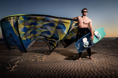 guy with kiteboard and kite in same photo HQ powerkite 12'