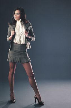 BeBe powersuit dress skirt in studio with ruffles
