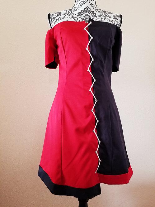 Off the Shoulder Asymmetric Dress (White/Grey)