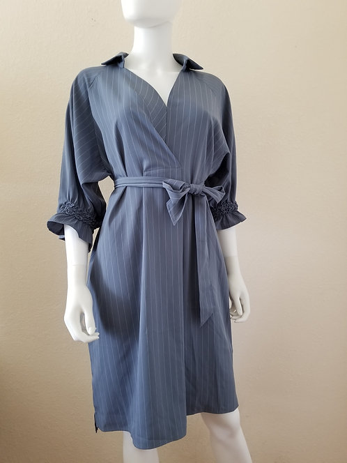 Medium-length Sleeves Shirt Dress (Dark Grey)