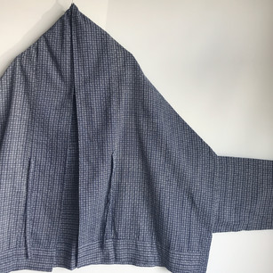 SOLD OUT: YUKATA fabric, Deep blue checkered stripe