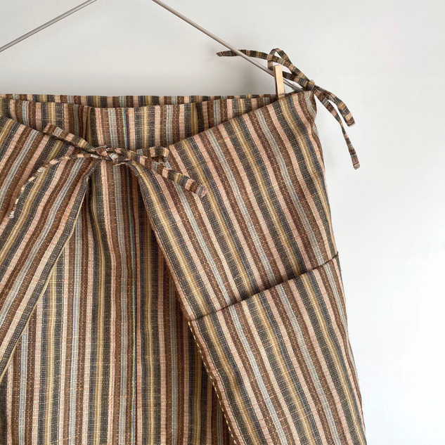 Square cloth Skirt -hemp wool blend, multiple color stripe