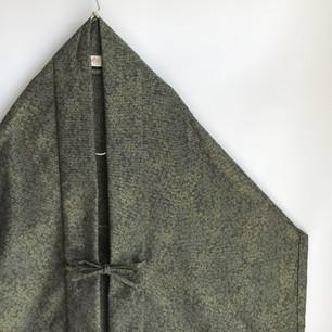 SOLD OUT: Greenish flowers Silk-Wool KIMONO fabric