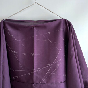 SOLD OUT: Silk-Wool KIMONO favric, Purple, Blossom branches