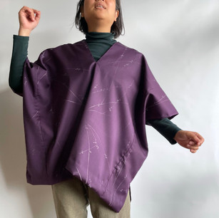 SOLD OUT: Oversized Pullover -Silk-Wool, Purple, Blossom branch