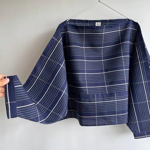 SOLD OUT: KIMONO Silk, White grid on Navy Blue