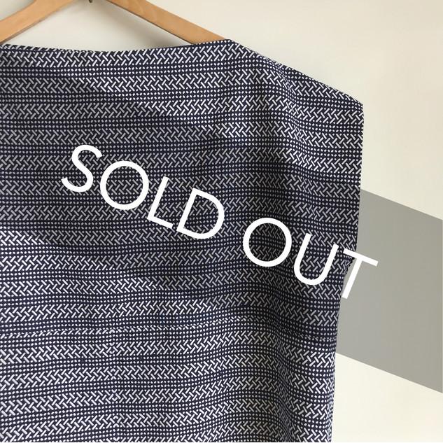 Square cloth Pullover blouse -YUKATA fabric, lines and dots pattern on indigo