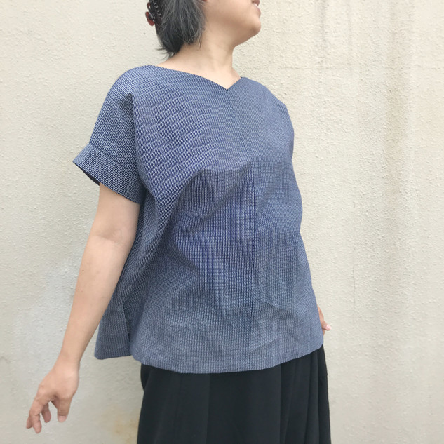 MADE-TO-ORDER | Sleeved Square Pullover Blouse -YUKATA fabric, tiny bamboo patterns