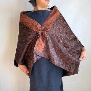 KIMONO coat fabric, Brown, slanted pattern