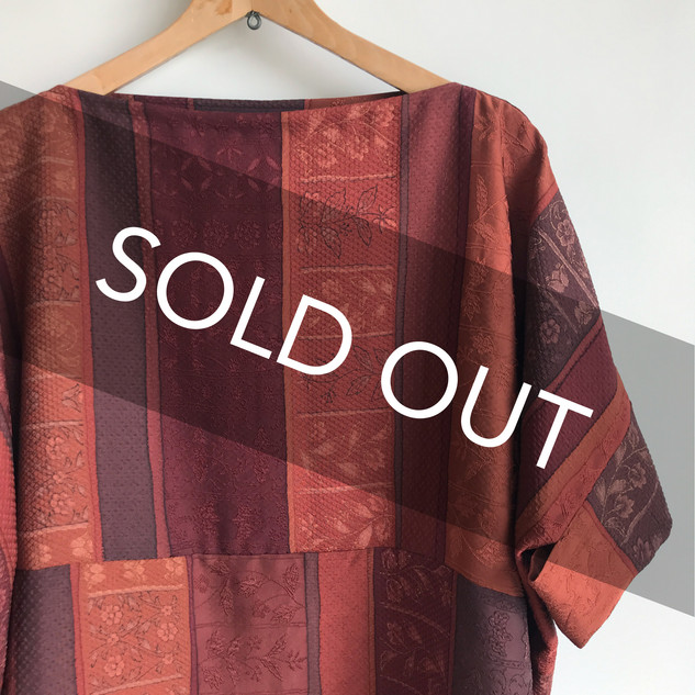 Square cloth Pullover blouse WIDE & with Sleeves -KIMONO Silk, Brown Dark-red