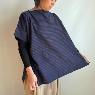 Regular item | MIKAWA Cotton, Brown stripes on dark blue, Wide Pullover Blouse