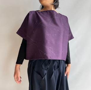 Sleeved Pullover Wide -Silk-Wool, Purple, Blossom branch