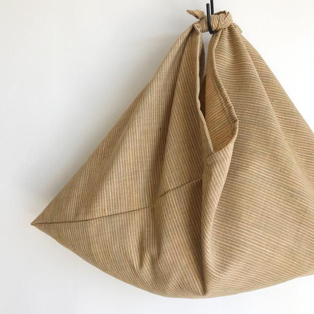 AZUMA BUKURO, AZUMA bag - Wool with linen, light colored stripe on yellow