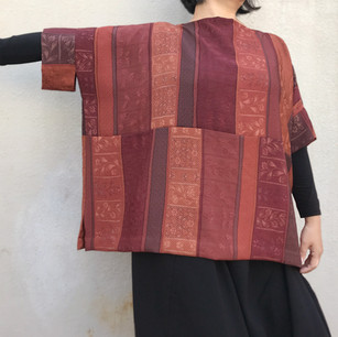 SOLD OUT: Pullover blouse WIDE & with Sleeves -KIMONO Silk, Brown Dark-red