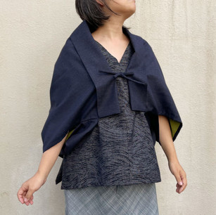 SOLD OUT: Navy wool KIMONO fabric, cotton lining