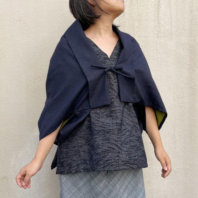 Dolman-Sleeved KIMONO jacket -Navy wool KIMONO fabric, cotton lining