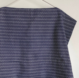 YUKATA fabric, dark blue fine grid pattern