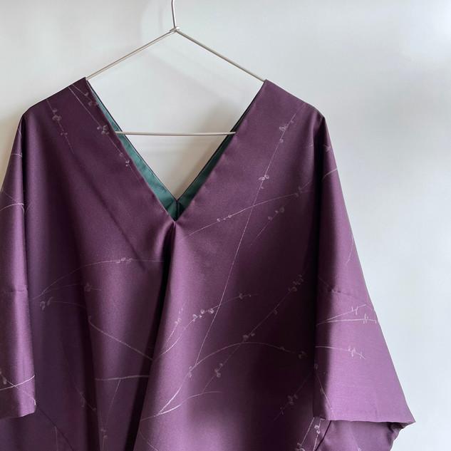 Oversized Pullover -Silk-Wool, Purple, Blossom branch