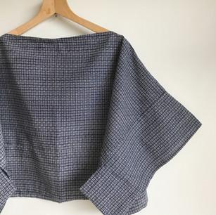 Deep blue checkered stripe YUKATA