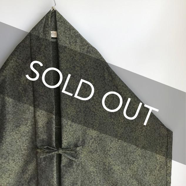 Triangle HAORI, original KIMONO jacket -Greenish flowers Silk-Wool KIMONO fabric