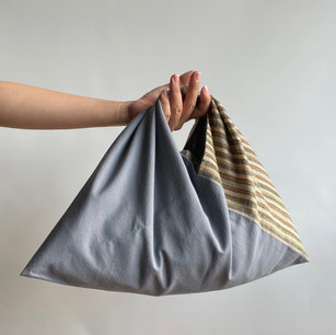 2 fabrics, Multi-color stripe hemp blend and Gray cotton