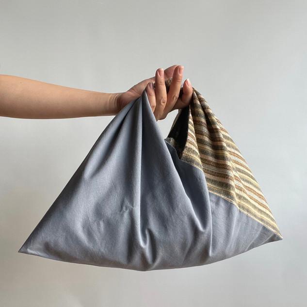 AZUMA bag, 2 fabrics, Multi-color stripe hemp blend and Gray cotton
