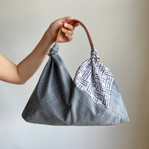 2 colors -Linen-wool KIMONO fabric, Grayish light blue, YUKATA fabric, geometrical pattern on white