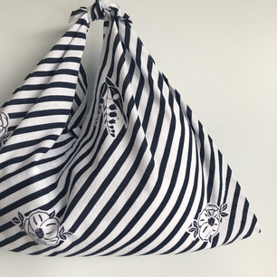 YUKATA fabric, cotton, white & navy blue stripe with flower