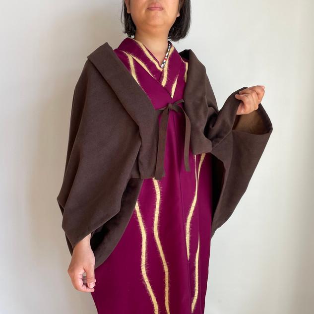 Dolman-Sleeved HAORI, KIMONO-like jacket  -Angora blend, Brown