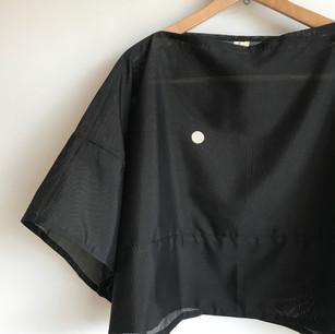 """SOLD OUT: Black KIMONO gauze """"RO""""(絽)"""
