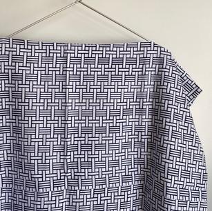 YUKATA fabric, Navy basket pattern on white