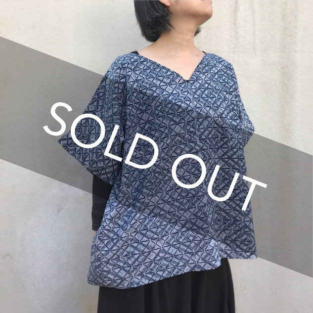 Square cloth Pullover with sleeves, oversized -YUKATA fabric, diamond patterns