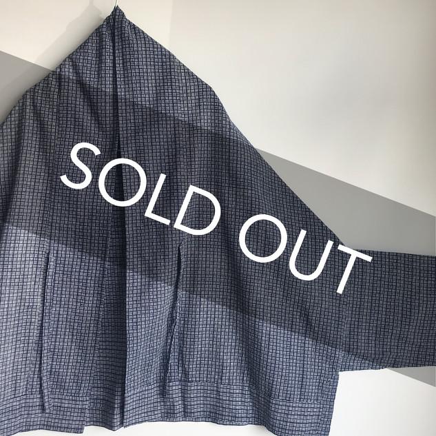 Triangle HAORI, original KIMONO jacket -deep blue checkered stripe YUKATA