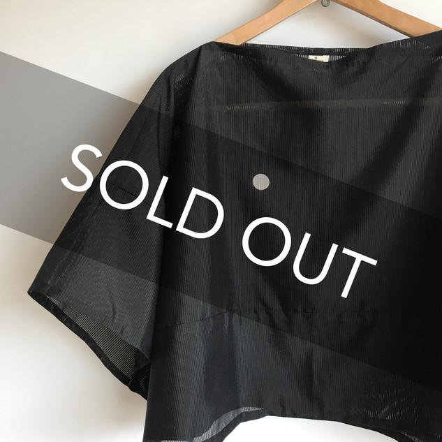"Square cloth Poncho with short KIMONO Sleeves -Black KIMONO gauze ""RO""(絽)"