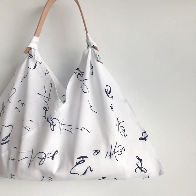"""AZUMA BUKURO, AZUMA bag - YUKATA fabric, cotton, letters """"ASUKA"""" on white"""