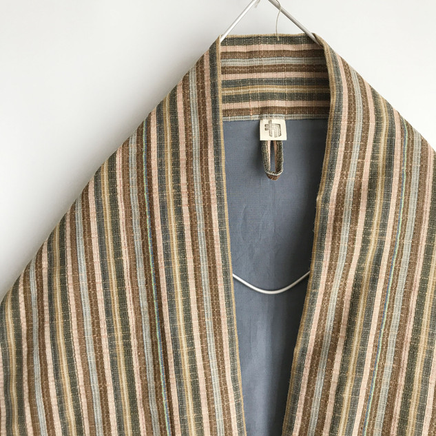 Triangle HAORI, KIMONO jacket -hemp wool blend, multiple color stripe