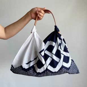 YUKATA fabric, large pattern, indigo & white