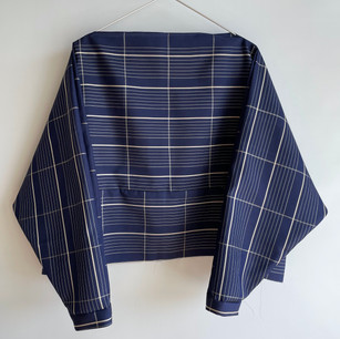 Made-to-order | KIMONO Silk, White grid on Navy Blue