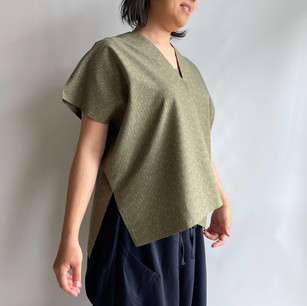 Vertical cloth Pullover -Wool KIMONO fabric, Pale Green with thin line, green cotton lining on collar