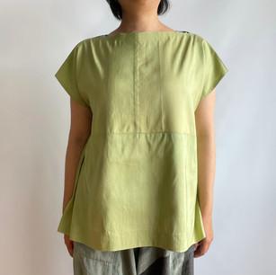Silk KIMONO fabric, yellow green, plant dyeing