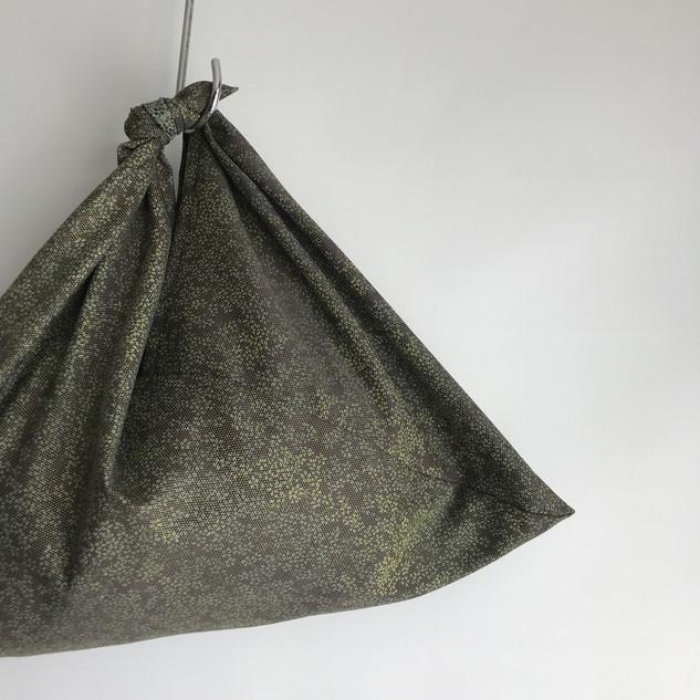 AZUMA bag -Greenish flowers Silk-Wool KIMONO fabric