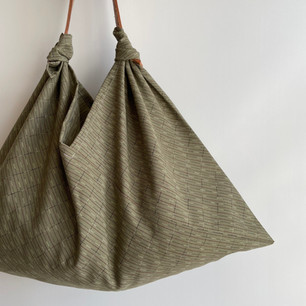 Wool KIMONO fabric, Pale Green with thin line