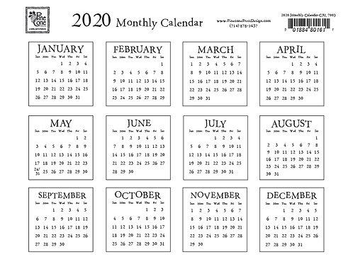 2020 Calendar White